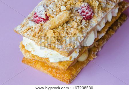 Millefeuille Costrada With Raspberries
