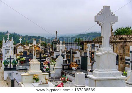 Catholic Cemetery Christian Graveyard In Galicia Spain