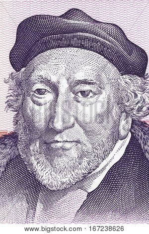 Moses Montefiore portrait from Israeli money, a pounds