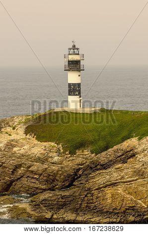 lightouse in isla Pancha Ribadeo Galicia Spain