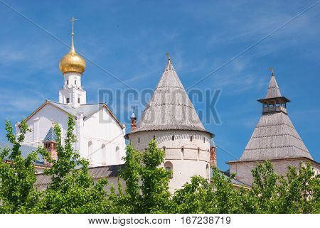 The tower and the dome of the ancient Russian city Rostov Veliky