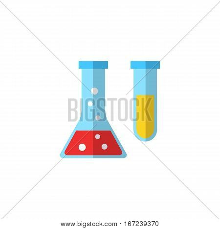 Flask icon on white background.  Chemistry icon with laboratory glassware filled with bubbling chemical solutions. Laboratory glass icon.  Flat design style vector illustration.