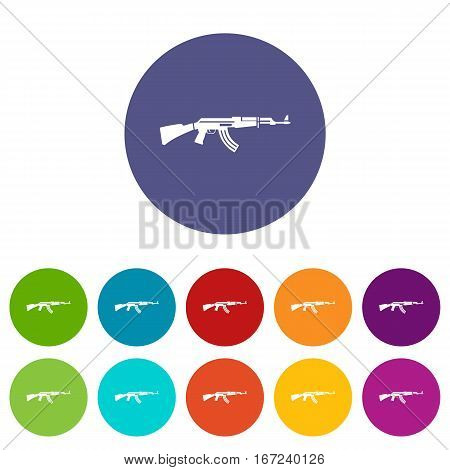 Military rifle set icons in different colors isolated on white background