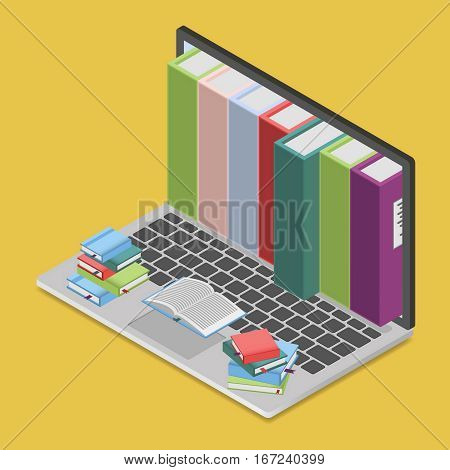 Online books shop in isometric view, digital library concept. Laptop computer with books inside, vector illustration. Books on keyboard.