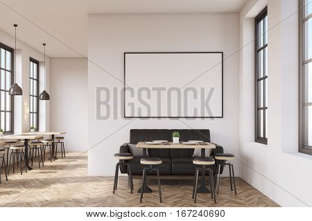 Coffee Shop With Poster, Wooden Floor
