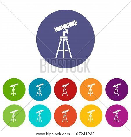 Telescope set icons in different colors isolated on white background