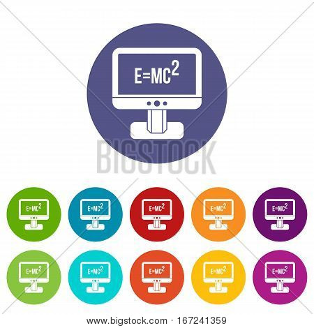Monitor with Einstein formula set icons in different colors isolated on white background
