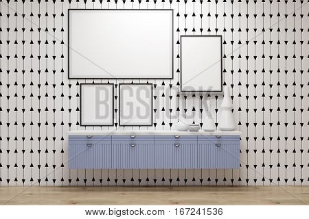 Poster Gallery, Blue Drawers, Gray Wall