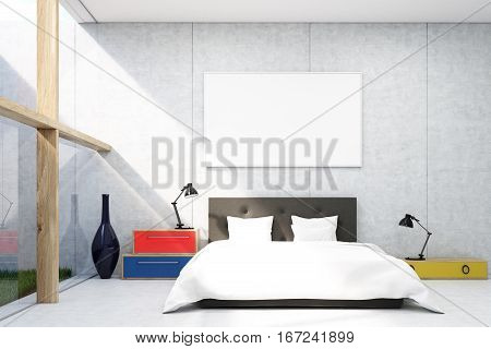 Bedroom with concrete walls colorful bedside tables with desk lamps on them and a large horizontal poster. Grass patch to the left. 3d rendering. Mock up.