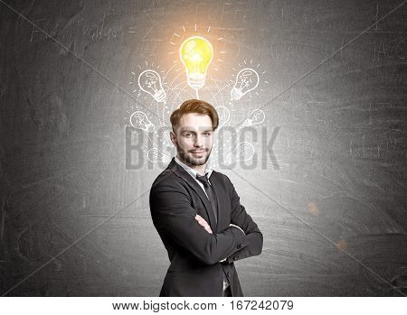 Hipster Businessman And Seven Light Bulbs