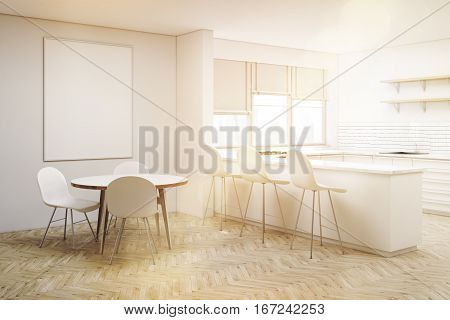 Corner Of White Kitchen With Round Table, Toned