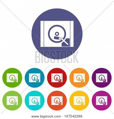 Turntable set icons in different colors isolated on white background