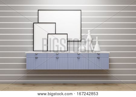 Gallery with blue set of drawers and vases standing on it. There are three posters on a gray wall with white stipes. 3d rendering. Mock up.