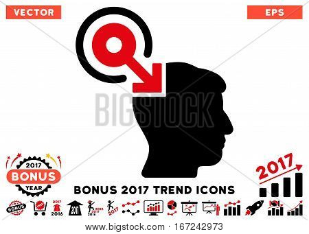 Intensive Red And Black Brain Interface Plug-In pictogram with bonus 2017 year trend clip art. Vector illustration style is flat iconic bicolor symbols, white background.