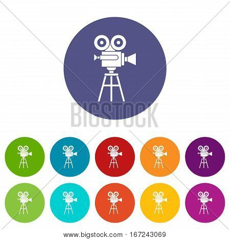 Retro film projector set icons in different colors isolated on white background