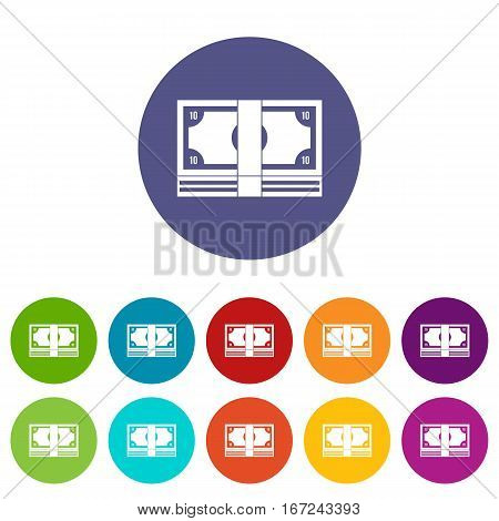 Bundle of money set icons in different colors isolated on white background
