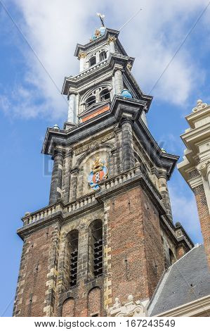 Tower Of The Westerkerk Church In The Center Of Amsterdam