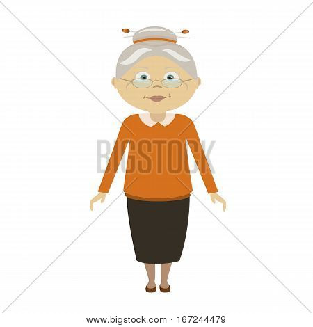 Old woman with cane. Senior lady with glasses walking. Vector illustration. Flat style. Elderly woman, old lady, grandmother, old woman face, senior, retired, old woman portrait, old woman smile