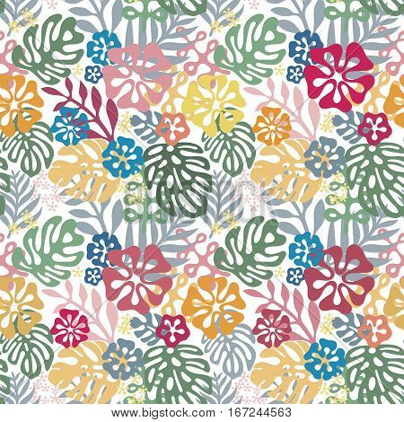 Vector tropical flowers patten. Seamless design with simple botanical elements of paradise. Aloha Hawaii vector editable file. Bright colors on white background