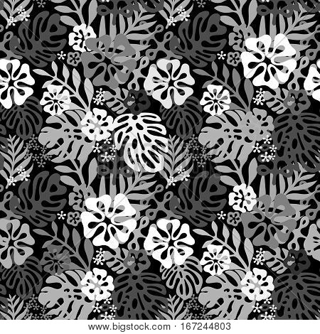 Vector tropical flowers patten. Seamless design with simple botanical elements of paradise. Aloha Hawaii vector editable file. Black and white colors background
