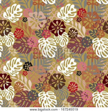 Summer exotic floral tropical seamless pattern. Vector brown colors seamless on the beige background. Plant flower silhuette nature wallpaper. Flat style illustration