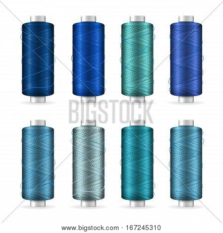 Thread Spool Set. Bright Plastic Bobbin. Isolated On White Background For Needlework And Needlecraft. Stock Vector Illustration