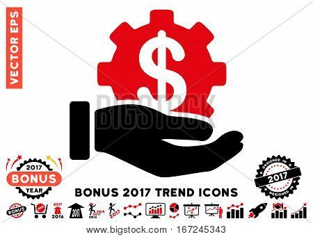Intensive Red And Black Development Service pictograph with bonus 2017 trend icon set. Vector illustration style is flat iconic bicolor symbols, white background.