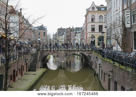 Utrecht the Netherlands - February 13 2016: Famous Oudegracht canal in historic city centre