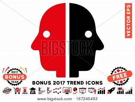 Intensive Red And Black Dual Face pictograph with bonus 2017 trend pictures. Vector illustration style is flat iconic bicolor symbols, white background.