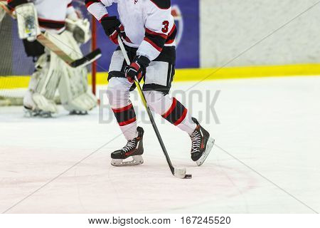 Ice hockey player handling the puck with his stick