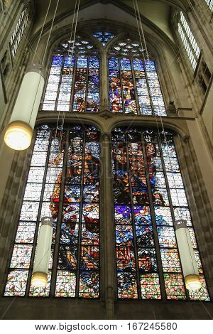 Utrecht the Netherlands - February 13 2016: Stained glass window of St. Martins Cathedral (Domkerk)