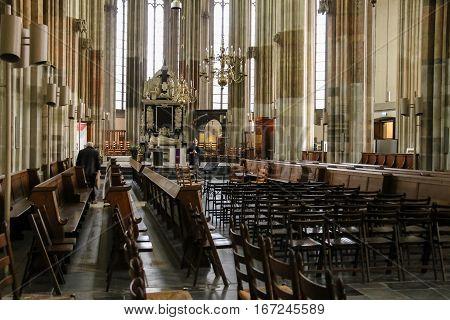 Utrecht the Netherlands - February 13 2016: Interior of St. Martins Cathedral (Domkerk)