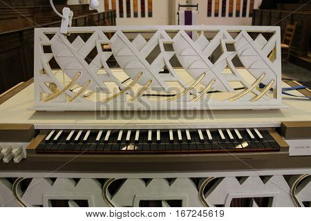 Utrecht the Netherlands - February 13 2016: Part of organ of St. Martins Cathedral (Domkerk)