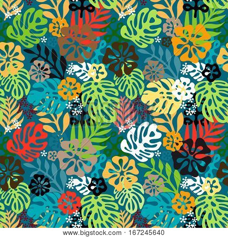 Summer exotic floral tropical seamless pattern. Vector colorful colors seamless on the beige background. Plant flower silhuette nature wallpaper. Flat style illustration