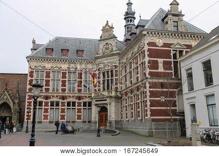 Utrecht the Netherlands - February 13 2016: University Hall of Utrecht University in historic city centre