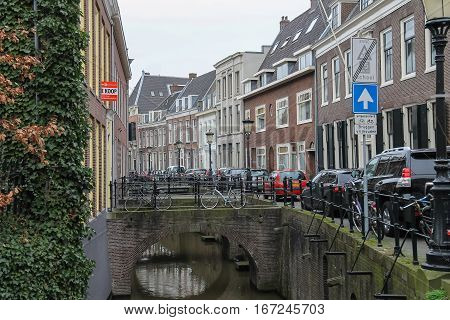 Utrecht the Netherlands - February 13 2016: Famous Oudegracht canal in in historic city centre