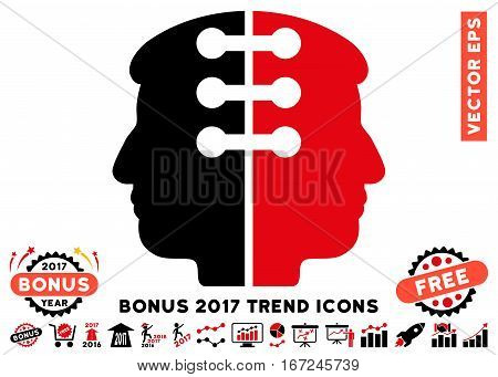 Intensive Red And Black Dual Head Interface pictogram with bonus 2017 trend pictograph collection. Vector illustration style is flat iconic bicolor symbols, white background.