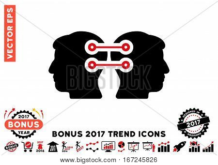 Intensive Red And Black Dual Heads Interface Connection pictograph with bonus 2017 year trend clip art. Vector illustration style is flat iconic bicolor symbols, white background.