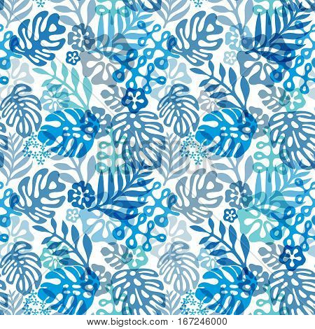 Seamless Hawaiian pattern classic flat style. retro flowers of hibiscus. Vector illustration. Blue plants on white background