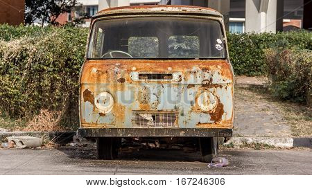Rusted, carcass, old, abandoned, Net, Van.Thailand, car