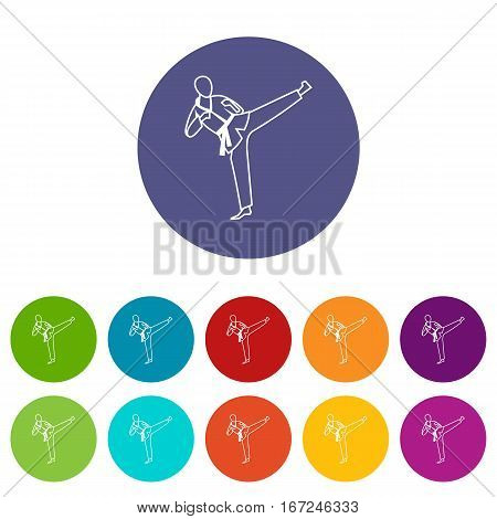 Wushu master set icons in different colors isolated on white background