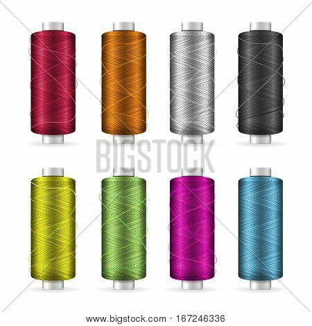 Thread Spool Set. Bright Plastic Bobbin. Isolated On White Background For Needlework And Needlecraft. Stock Vector Illustration