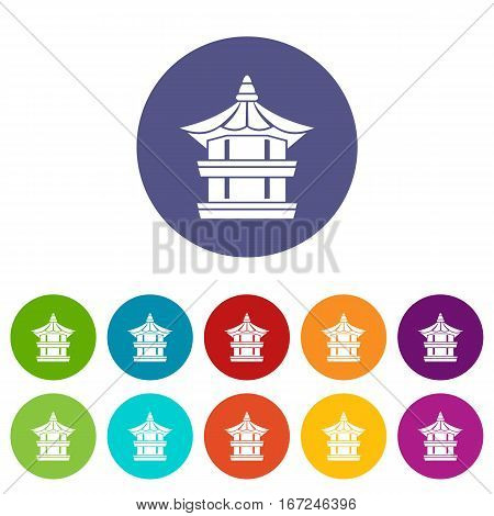 Traditional korean pagoda set icons in different colors isolated on white background