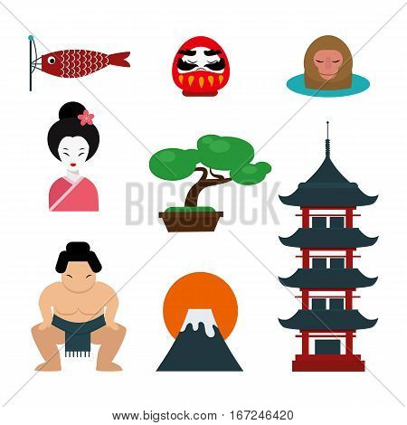 Japan landmark travel vector icons collection. Tokyo culture sign design elements tourism time illustration. Asian tradition decorative east art.