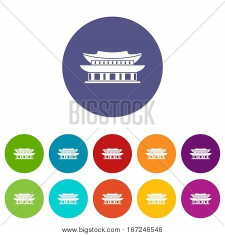 Gyeongbokgung palace, symbol of Seoul set icons in different colors isolated on white background