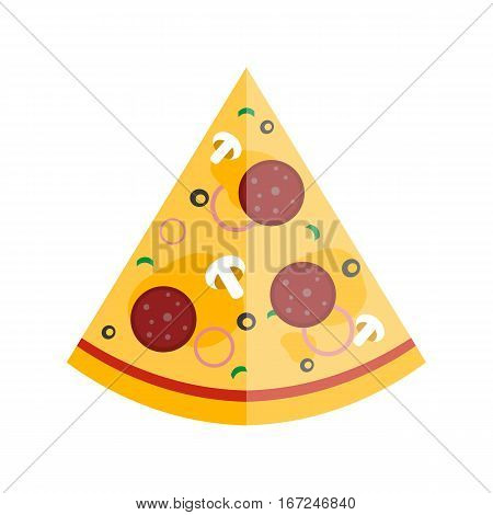 Pizza flat slice isolated on white background. Cheese food silhouette restaurant menu illustration. Pepperoni italian delicious hot lunch meal with mozzarella.