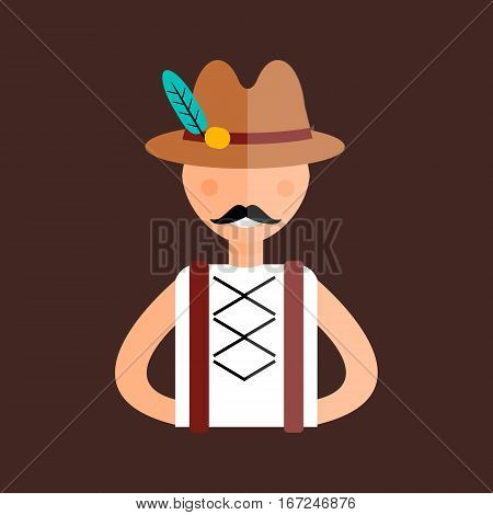 Man in traditional bavarian clothes hands on hips. Traditional germany bavaria beer smiling male. Costume tradition festival vector character.