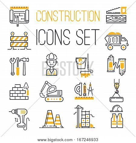 Outline web icons set building, construction and home repair tools. Engineering home carpenter or engineer worker. Industrial building crane vector.