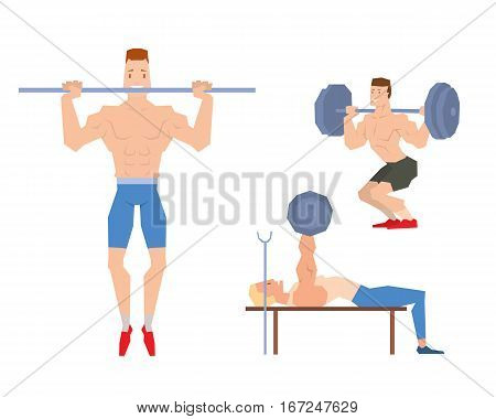 Caucasian man lifting heavy weight barbell. Sportsman doing exercise over his head. Male weightlifter holding tool. Vector flat design illustration.