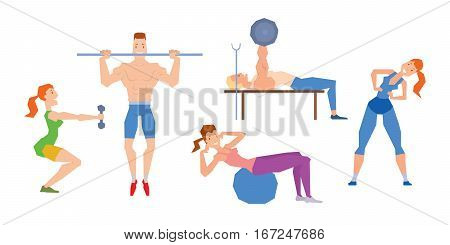 Cartoon sport gym people group exercise. Fitness character isolated on white background. Gym training activity health workout vector illustration.